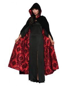 Black Hooded Cape Red Satin Flocked Renaissance Festival Victorian Vampire Cloak