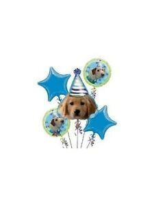 5 Piece Puppy Party Dog Foil Mylar Birthday Balloon Bouquet Decorating Supplies