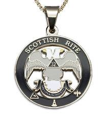 Scottish Rite 32nd Degree Silver Tone Steel Masonic Freemason Pendant & Necklace