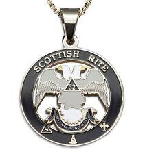 Scottish Rite 32nd Degree Silver Tone Steel Masonic Freemason Pendant & Necklace