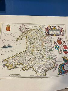 Vintage Map Ready To Frame Wales 1648  Reproduction