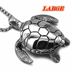 MENDEL Stainless Steel Big Sea Turtle Pendant Necklace Jewelry Men Free Shipping