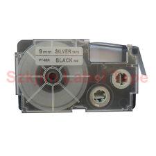 "Compatible Casio XR-9SR Black on Silvery 9mm 8m Label Tape 3/8 x 26""  XR-9SR1"