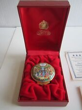 1997 HALCYON DAYS ENAMEL CHRISTMAS BOX - IN THE BOX WITH CERTIFICATE - MINT COND