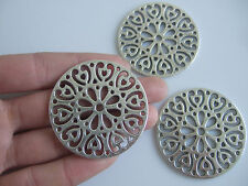 2 x Tibetan Silver Tone Large Open Flower Round Charms Pendants Jewellery Making