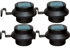 New 4 x Black Solar Panel LED Outdoor Garden Fence Wall Gutter Lamp Path Lights