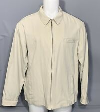 Nat Nast Mens Silk Cotton Blend Tan Jacket Zipper Front Casual Luxury XL