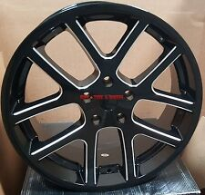 22 SRT10 Wheels Black Milled Rims & Tires Fit Dodge RAM 1500 Durango 24