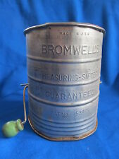 Vintage BROMWELL 3 Cup Flour Measuring Sifter with Green Wood Knob~Made in USA