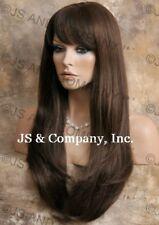 HUMAN HAIR Blend Full Wig Long Straight Medium Brown Hairpiece WBTO 6 NWT