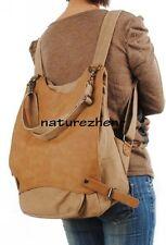 Vintage khaki Thick cotton Canvas Backpack Shoulders Bag women gril school