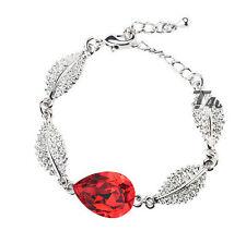 Elegant & Stylish Jewellery Silver & Deep Red Austrian Crystal Bracelet BB98