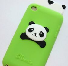 iPod Touch 4th Gen - SOFT SILICONE RUBBER GUMMY CASE COVER GREEN BLACK 3D PANDA