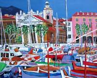 NICE FRANCE SEASCAPE Original Art PAINTING DAN BYL Contemporary Fine Canvas 4x5'