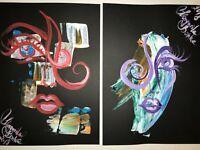 2 x ORIGINAL Malerei PAINTING abstract abstrakt erotic EROTIK black frau woman