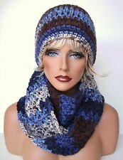 BLUE BROWN MULTI HAND CROCHET HAT AND INFINITY SCARF SET HAND MADE  BEANIE