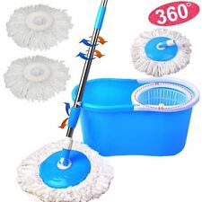 New Spin Mop 360° Spinning Bucket Microfiber Cleaning Polishing 3 Dry Heads