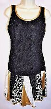 Vintage Jeanne Marc Collection Ruched Fitted Party Dress Black Gold Sz S 8/10
