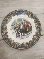 NEW (4) Royal Stafford Christmas Santa Claus Sleigh Reindeer Salad Plates