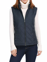 Women's Front Zip Up Stand Collar Mock Pockets Quilted Padded Vest Dark Blue M