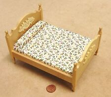 1:12 Scale Pine Coloured Double Bed Tumdee Dolls House Miniature Bedroom DF253