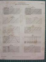 1809 Datato Antico Stampa ~ Miscellany Pescaggio & Filo Di Telai Vari Foglia