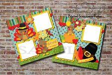 Thanksgiving Turkey Pilgrim 2 Printed Premade Scrapbook Pages Bljgraves 19