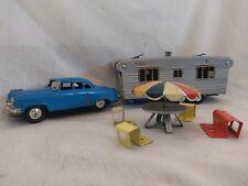 VTG 1950'S SSS/JAPAN PRESSED STEEL BLUE ENAMEL FRICTION TOY CAR, CAMPER & FURN