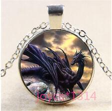 Vintage dragon Cabochon Tibetan silver Glass Chain Pendant Necklace #344