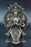 Exquisite Myth Collectible handwork Old tibet silver carve buddha pray statue RT