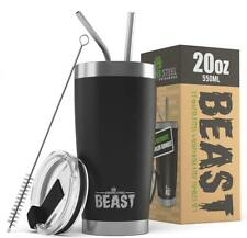 BEAST 20oz Stainless Steel Insulated Tumbler With Lid, 2 Straws and Brush