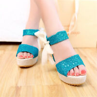 Women's Peep Toe Ankle Strap Lace Wedge Heels Slingback Platform Fashion Shoes