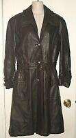 BELLA VARDA VINTAGE Trench Coat Womens Genuine Leather Long Brown  Sz 12 *VG
