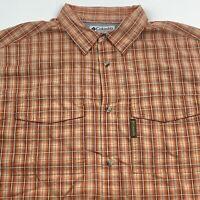 Columbia Mens L Orange Plaid Inside Vent Button Up Short Sleeve Shirt