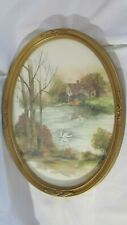 """Home Interior Picture Gold Color Oval Ornate Frame Swan on Lake 17 x13"""" Large"""