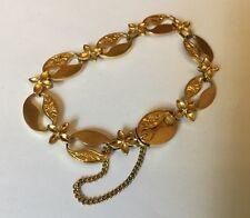Vintage 9ct 9k Gold Chased Hong Kong Chinese Engraved Flower Panel Bracelet