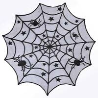 Black Lace Spiderweb Table Cloth Round Table Topper Window Hanging Halloween Dec