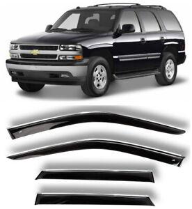 Chrome Trim Window Visors Guard Vent Deflectors For Chevrolet Tahoe II 2000-2006