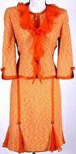ST.JOHN Couture Womens Yellow Orange Pink Boucle Trim Jacket & Skirt Sz 8-10