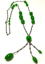 ANTIQUE POSSIBLE CZECH GLASS CRYSTAL NOUVEAU STERLING SILVER GREEN NECKLACE