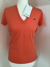 Lacoste Ladies Orange  V-Neck T-Shirt Size 40 - BNWT