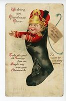 Little Soldier Boy in Stocking CLAPSADDLE Antique Cute A-S PC ca. 1910s