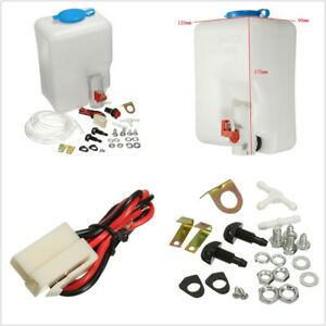 New 1.8L 12V Car Off-Road Windshield Washer Reservoir Pump Bottle Hose Jets Kit