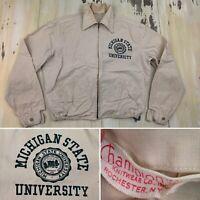 MICHIGAN STATE UNIVERSITY - Vtg 50s-60s Khaki CHAMPION Jacket, Mens MEDIUM