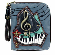 NEW CHALA BLUE BLACK PIANO KEYS MUSIC ZIPPERED WALLET FAUX LEATHER