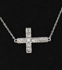 Sideways Cross Crystal Stunning Religious Christian Jewelry New Necklace #156-E