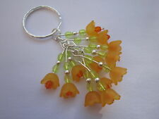 Keyring / Bag Charm - Bunch of Orange Blossom - Silver Plated - Orange Flowers
