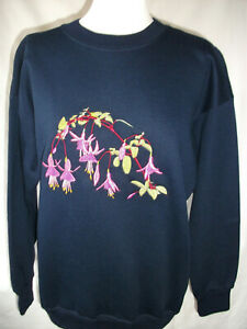 LADIES,WOMENS,NAVY,EMBROIDERED SWEATSHIRTS,TOPS,JUMPER,WITH, A FUSCHIA FLOWER