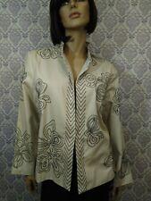 Cambridge Dry Goods Blazer Jacket Womens Sz 1X  Beige Embroidered Cotton Lined
