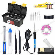 16 in 1 Electric Soldering Iron Welding Tool Kit w/ Solder Wire Tweezer Set Us